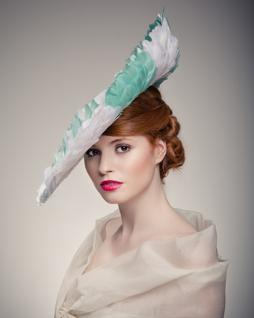 Model in large hat - Beverley Edmondson millinery farnham