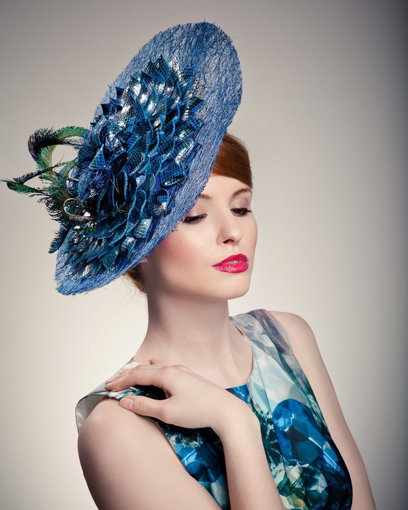 Model in blue hat - Beverley Edmondson hand-made hats