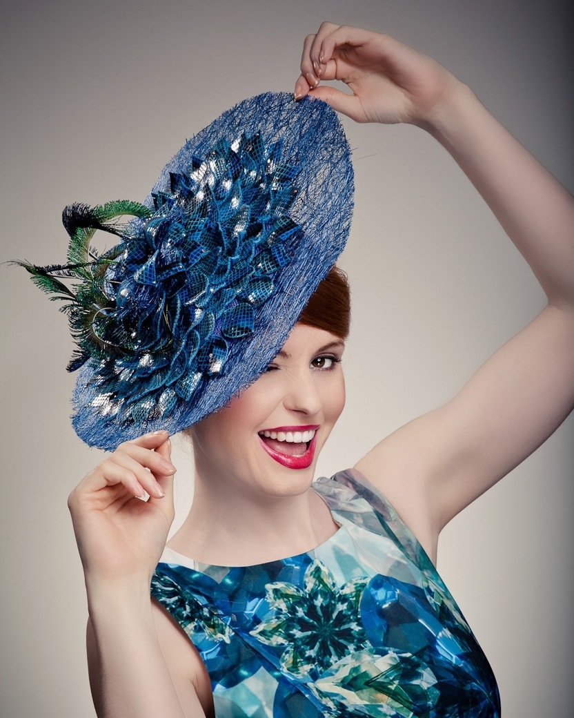Women in blue hat - Beverley Edmondson bespoke hats