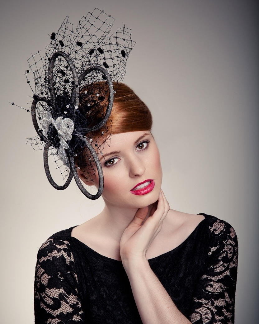 Model in fashion hat - Beverley Edmondson fashion hat