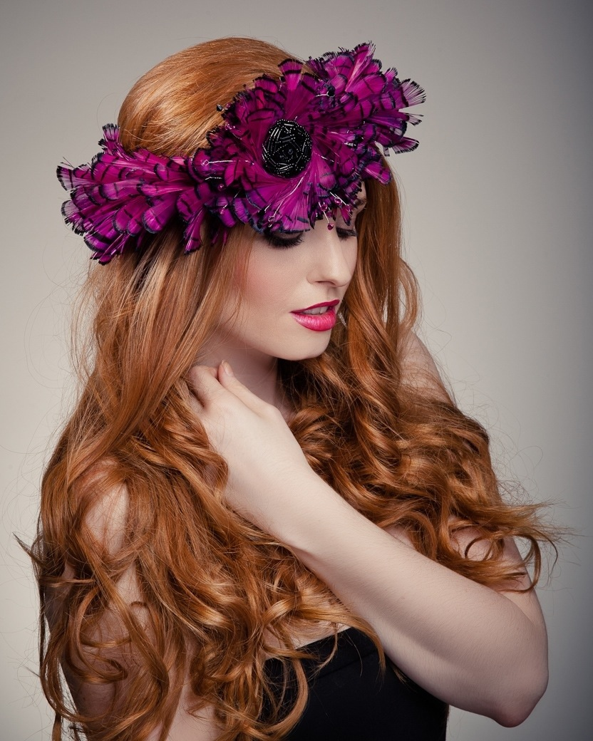 Model in head piece - Beverley Edmondson millinery farnham