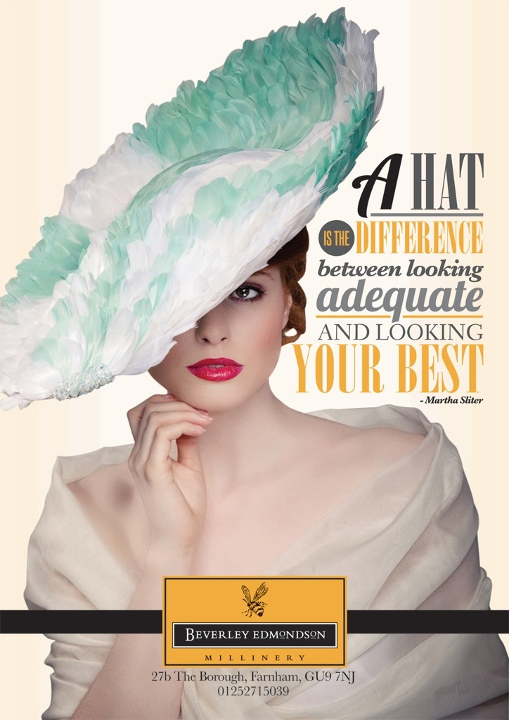 Fashion hat advert - Beverley Edmondson millinery fashion