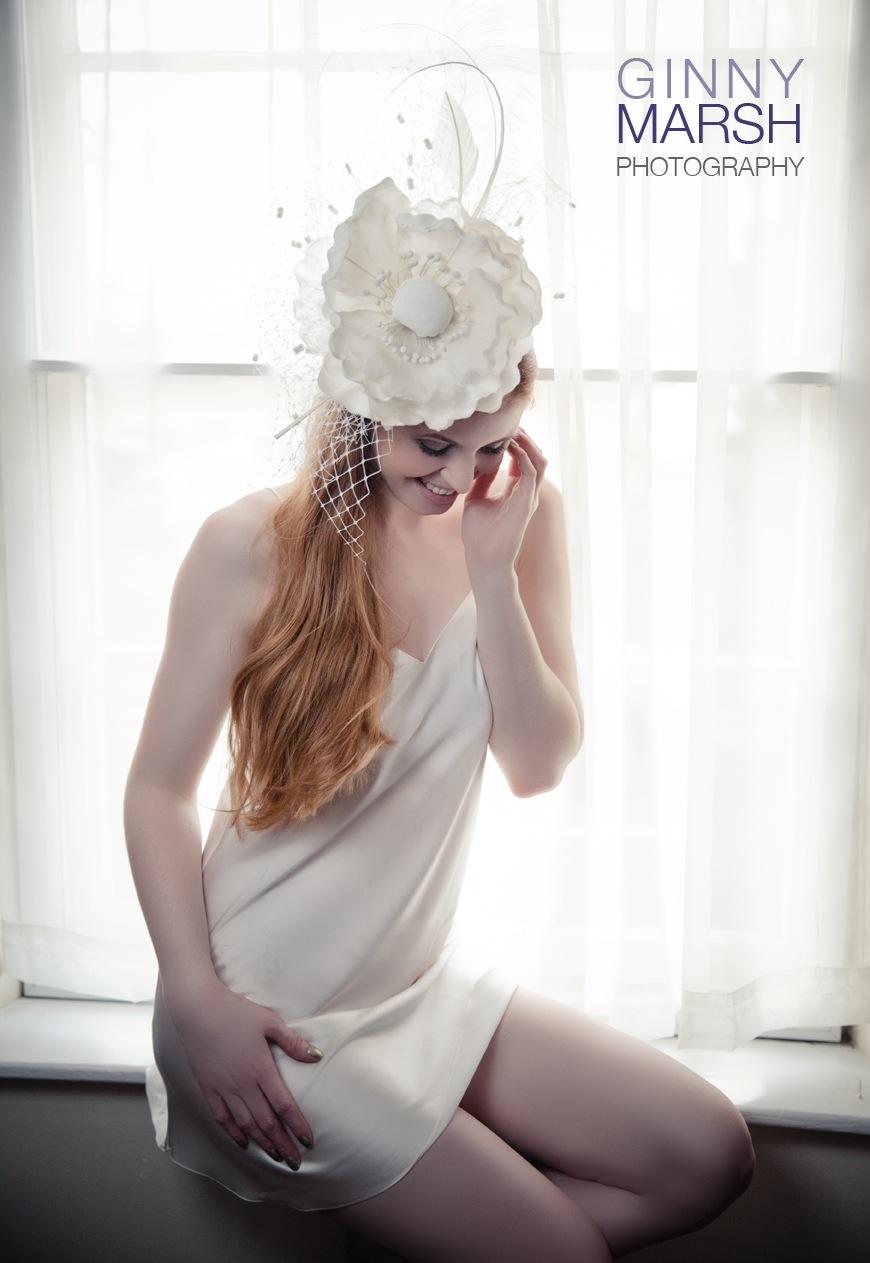 Model in white hat - Beverley Edmondson bespoke hats