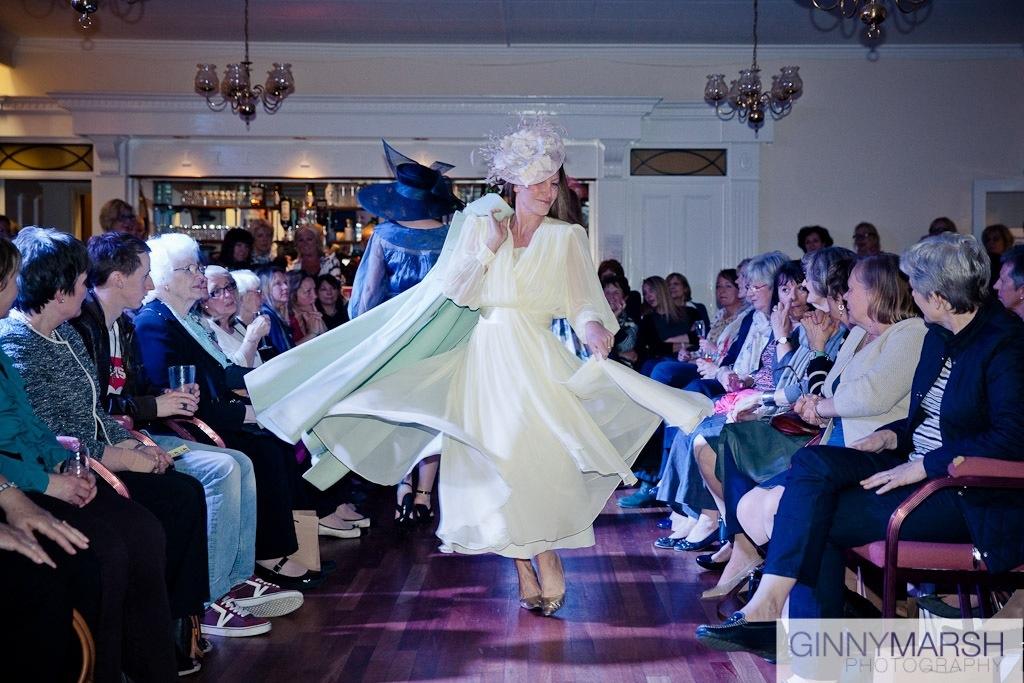 woman in dress - Beverley Edmondson millinery farnham