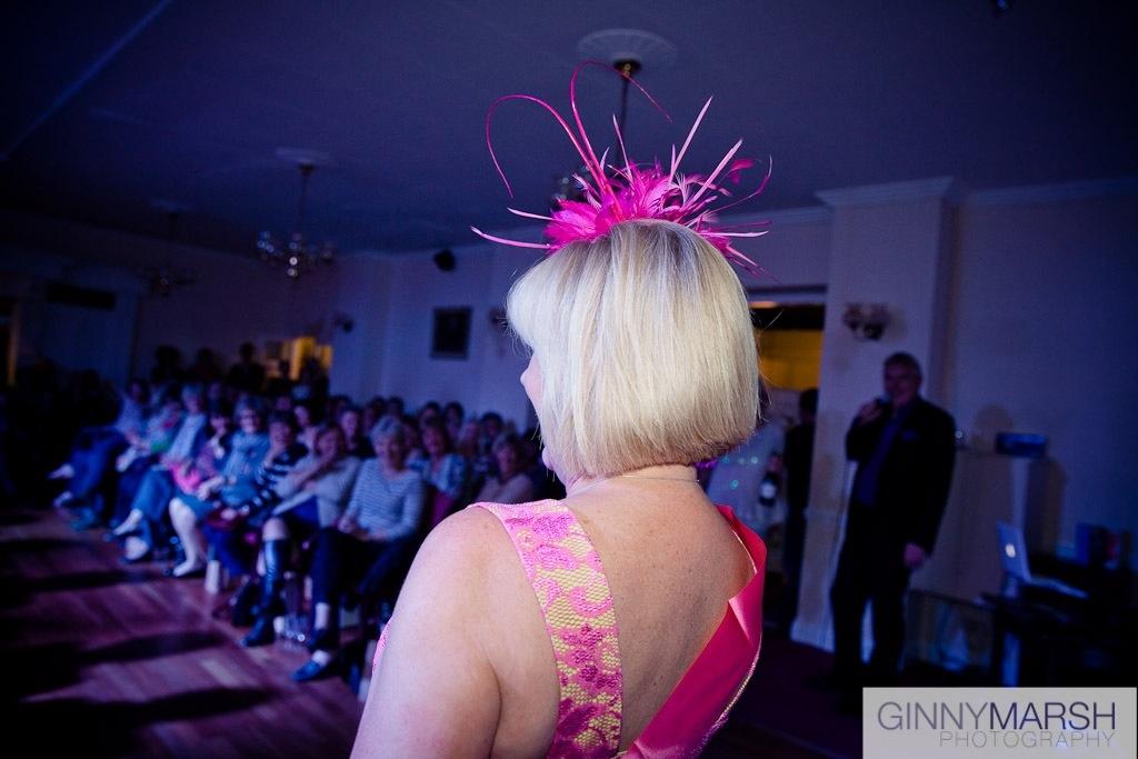 Women in pink hat - Beverley Edmondson millinery fashion show
