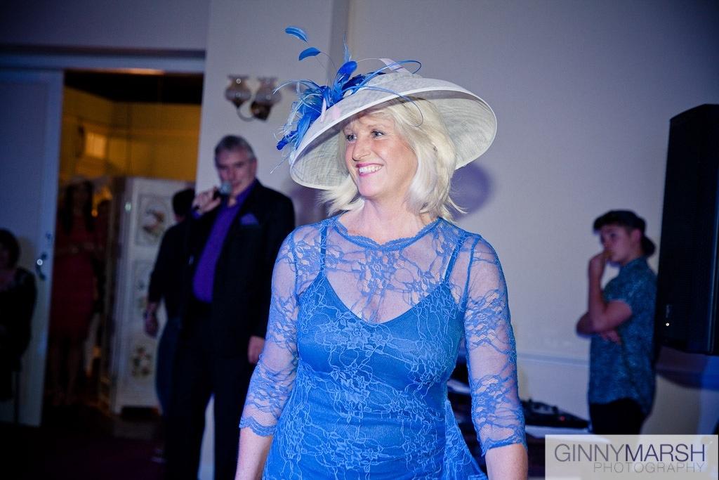 Women in blue hat - Beverley Edmondson Millinery Fashion show
