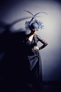 Beverley Edmondson Blue feather Visor, Photography by Ginny Marsh