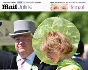 Beverley Edmondson Millinery featured in Femail on-line, Royal Ascot 2015