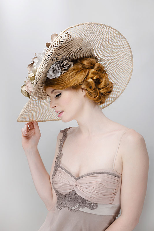 large gold wedding hat ascot