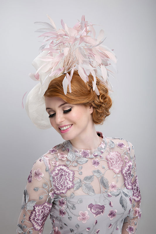 pink cream mother of the bride hat