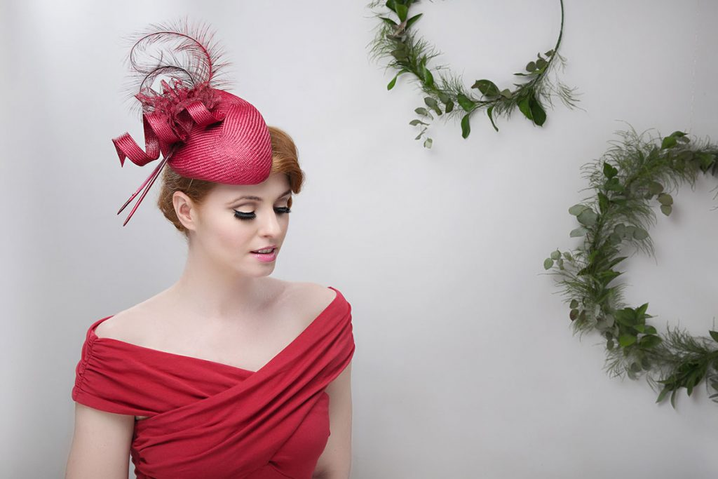 red pillbox hat fascinator