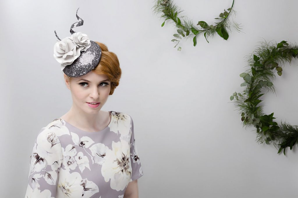 silver grey pillbox fascinator