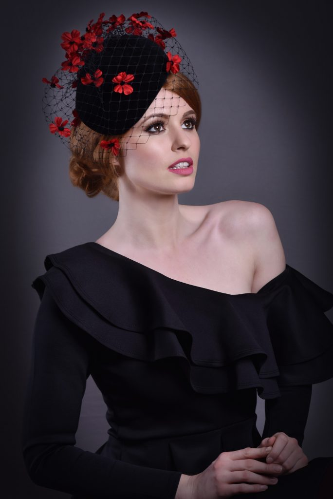 Black Cap Fascinator with Netting & Poppies
