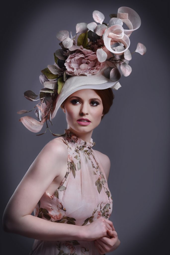 Ivory Flower Leaves Wedding Ascot Hat