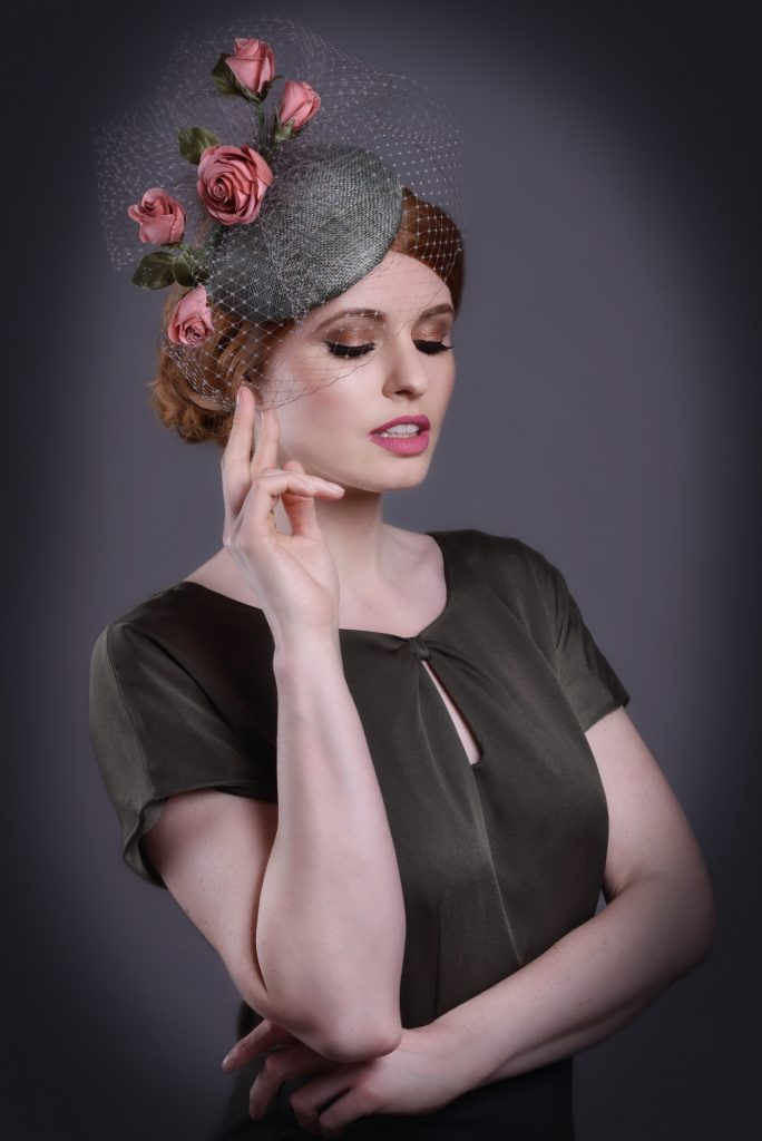 Khaki Green Cap Fascinator with Roses