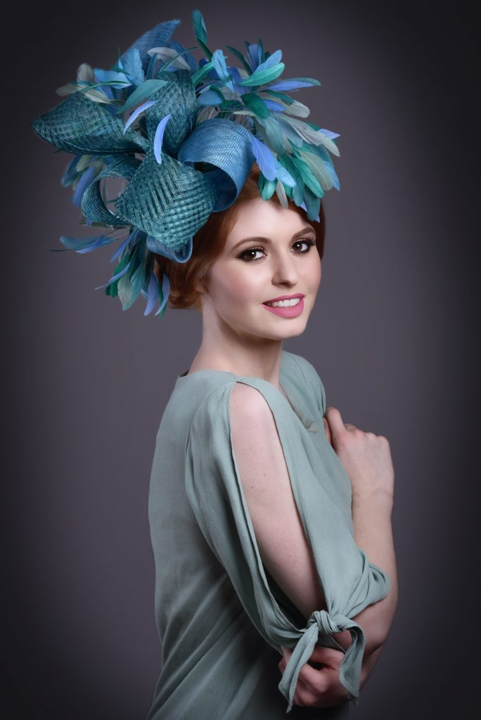 Large Blue Fascinator for Races