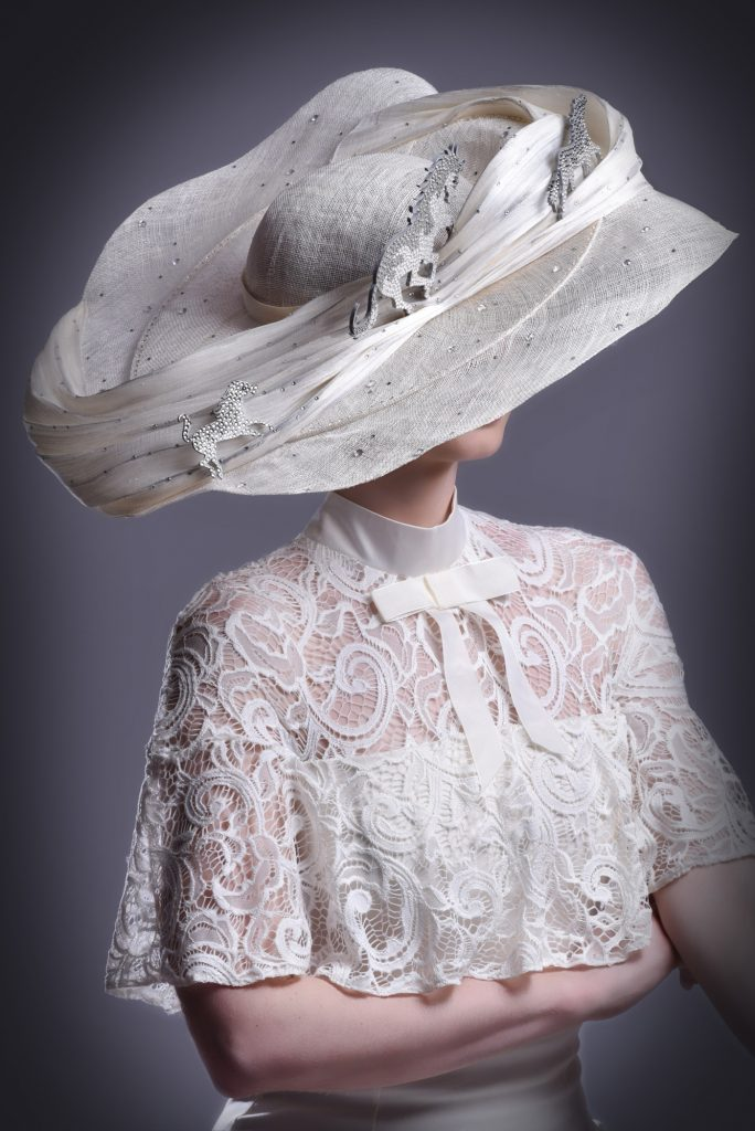 Large White Wedding Ascot Hat