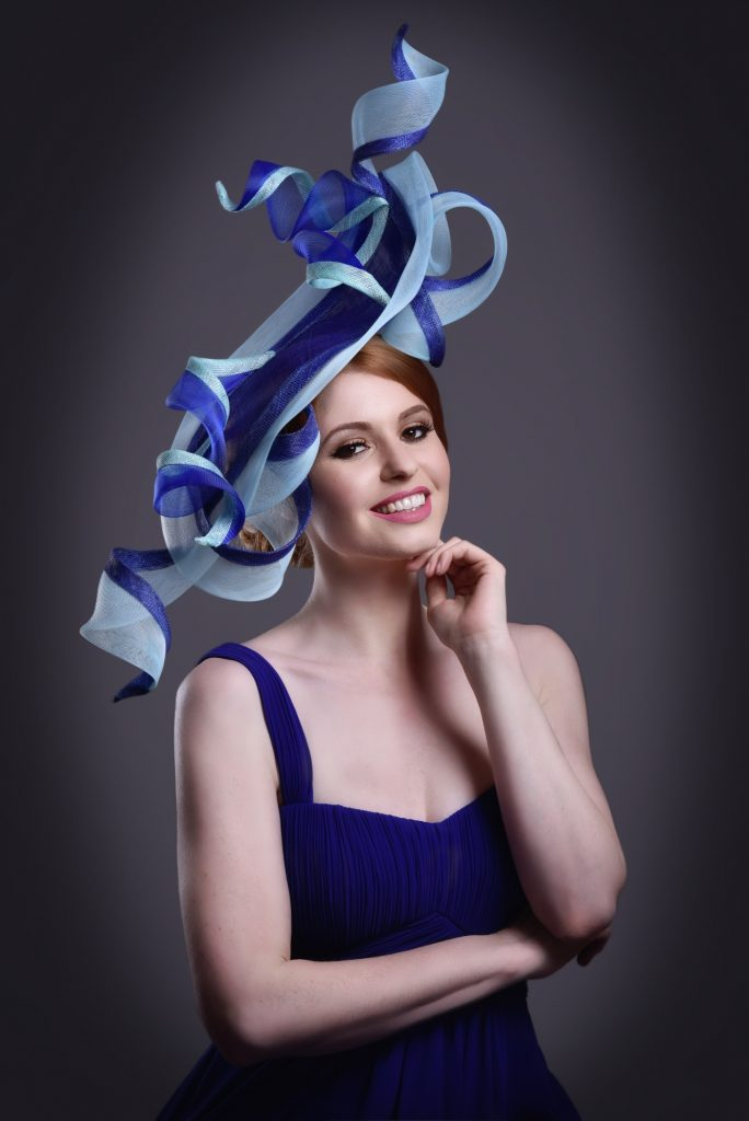 Pale Blue Navy Blue Large Wedding Fascinator