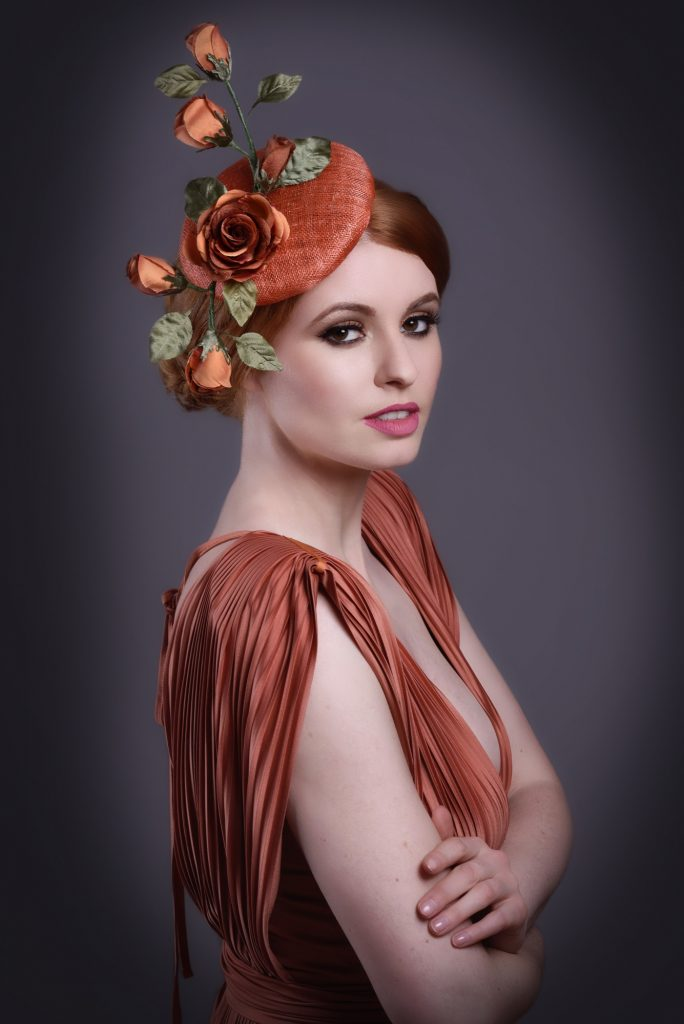 Terracotta Orange Button Fascinator with Roses
